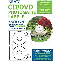 Neato CD/DVD Labels, Photomatte - Photo Quality Finish - 100 Disc Labels and 200 Spine, Core, and Utility Labels
