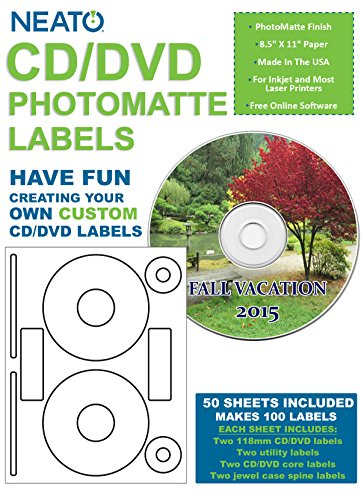 (Neato Printable CD and DVD Labels - Professional Quality Photomatte Finish - Custom Disc Labels with Disc Spine, Core, and Utility Labels - 50 Sheets)