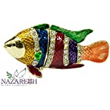 Colorful Fish Figurine Pewter Enamel Trinket Box bejeweled with zircon Crystals