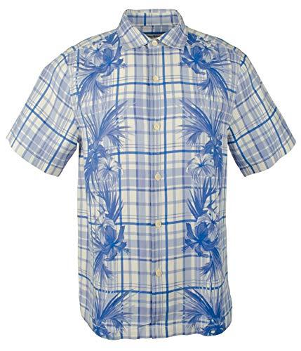 Tommy Bahama Lattice Bay Silk Blend Camp Shirt (Color: Santorni Blue, Size L)