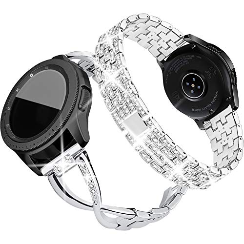 Supoix Compatible for Galaxy Watch 42mm Band,2 Pack 20mm Women Jewelry Bling Metal Replacement Bracelet for Samsung Galaxy Watch 42mm/Active 40mm(Silver)