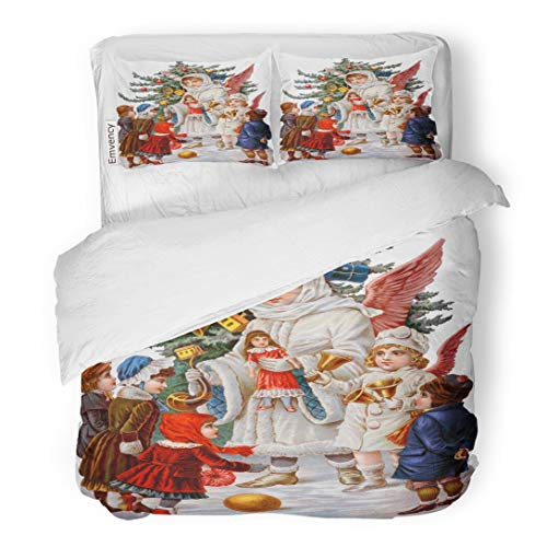 Tarolo Bedding Duvet Cover Set Vintage Victorian of Christmas Angels Giving to Children Circa 1890 Old Toys 3 Piece Queen 90