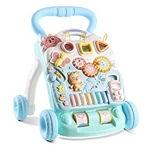 HOMFA Bebé Andadore 2 en 1 andadores de bebe con Música y LED, Promover la creatividad, Evitar que el bebé se caiga, Versión Inglés