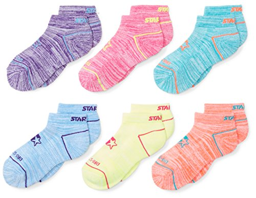 Starter Girls' 6-Pack Athletic Low-Cut Ankle Socks, Amazon Exclusive, Multi, Medium (Shoe Size 4-9.5)