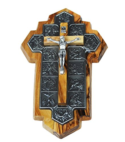 Olive-Wood-Crucifix-icon-showing-14-Stations-of-the-Cross-etched-on-metal-14x9x1-cm-or-55x35x4-inch
