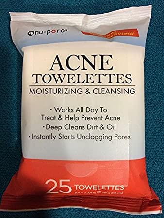 NU-PORE Acne Moisturizing and Cleansing Towelettes 25 Count