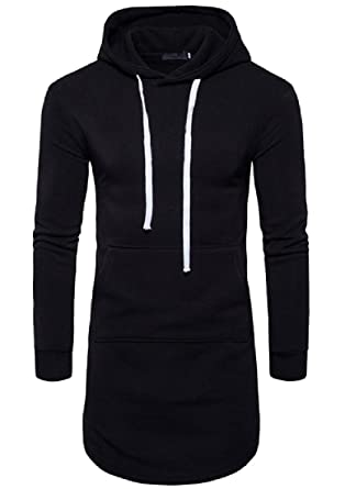 Winwinus Men Extra Long Side Slit Solid Color Large Size Sweatshirts Black L bcf03f013aa