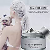 Facial Hair Dye - Hair Wax Dye Color Styling Pomade Silver Grandma Grey Temporary Hair Dye Disposable Fashion Molding Coloring Mud Cream (Gray)