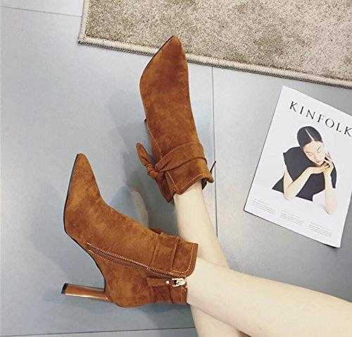 KHSKX-Die Koreanische Version Des Bow Tie Persönlichkeit Mit Bold 8.5Cm Hochhackigen Stiefeln Winter Neue Spitze Satin Seitlichem Reißverschluss Karamellfarbene 38