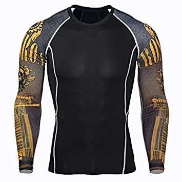 1Bests Mens Basketball Running Fitness Training Quick-Drying Elastic Compression Tight Shirts