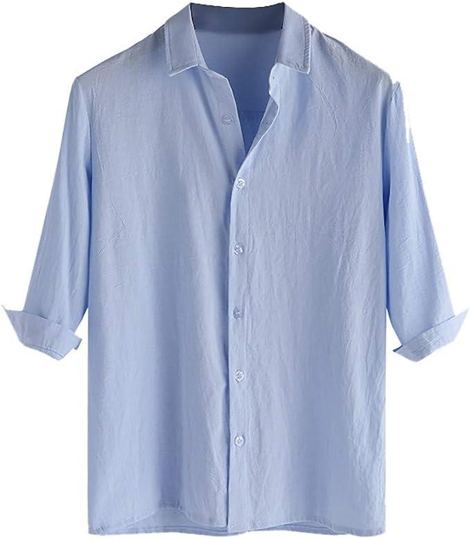 Amazon.com: Camisa de algodón para hombre, manga larga ...