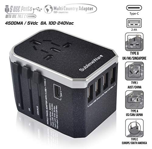 Power Plug Adapter - International Travel (w/5 USB Ports and USB Type C)- Work 150+ Countries - 220 Volt Adapter - Travel Adapter - Type C A G I A/C - UK Japan China Europe ()