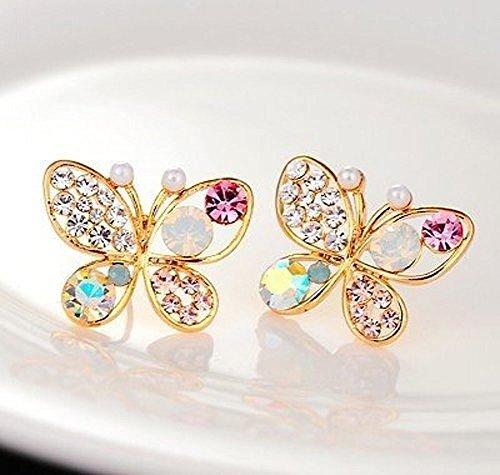 Gleader Fashion Multicolour Rhinestone Butterfly Retro Ear Studs Earrings 1 Pair (Butterfly Earrings Rhinestone)