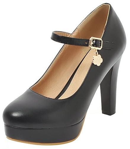 9e7f282ccfd Mofri Women s Ankle Strap Pump - Buckle Round Toe Low Cut - Fashion Platform  Chunky High