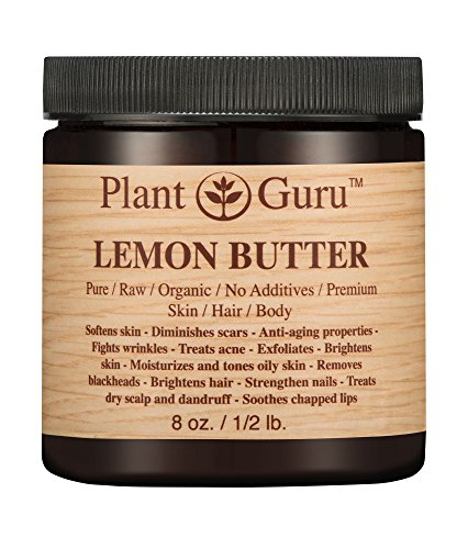 Lemon Body Butter 8 oz. 100% Pure Raw Fresh Natural Cold Pressed. Skin Body and Hair Moisturizer, DIY Creams, Balms, Lotions, Soaps.