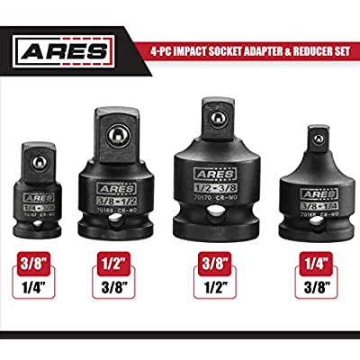 ARES 70008-4-Piece Impact Socket Adapter and Reducer Set - 1/4-Inch, 3/8-Inch & 1/2-Inch Chrome Moly Ratchet/Socket Extension Kit: Automotive