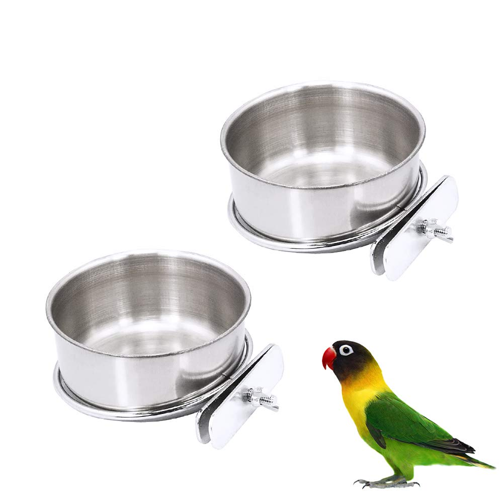 2 Pack Bird Cage Food Water Dispenser Parrot Food Dish Bird Feeder Cup for Cage, Stainless Steel Bird Food Holder Container for Parrot Macaws Ferret Parakeet Cockatiel Budgerigar by Chnee