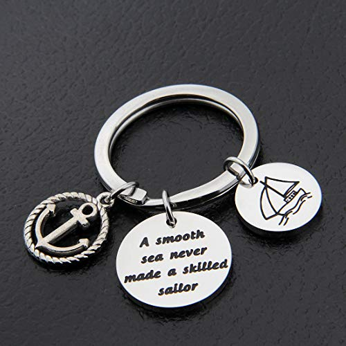 HOLLP Sailor Keyring Anchor Jewelry A Smooth Sea Never Made A Skilled Sailor Gifts for Sailor Beach Jewelry Husband Gift (Sailor Keyring) by HOLLP (Image #1)