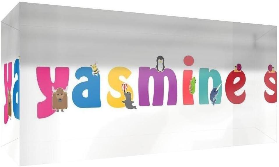 Little Helper Souvenir D/écoratif en Acrylique Transparent Poli comme Diamant Style Illustratif Color/é avec le Nom de Jeune Fille Yasmine 5 x 15 x 2 cm Petit