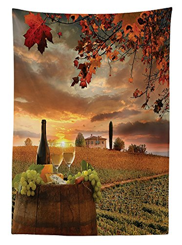 Tuscany Cherry Vanity (Winery Decor Tablecloth White Wine with Barrel on Vineyard at Sunset in Chianti Tuscany Italy Landscape Dining Room Kitchen Rectangular Table Cover)
