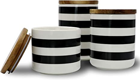 Amazon Com Sunddo Ceramic Canister Set With Bamboo Lid Perfect Coffee Tea Food Storage Candy Sugar Canisters Modern Design Porcelain Jar Kitchen Container Gift For Women Round White And Black Set Of 3 Home