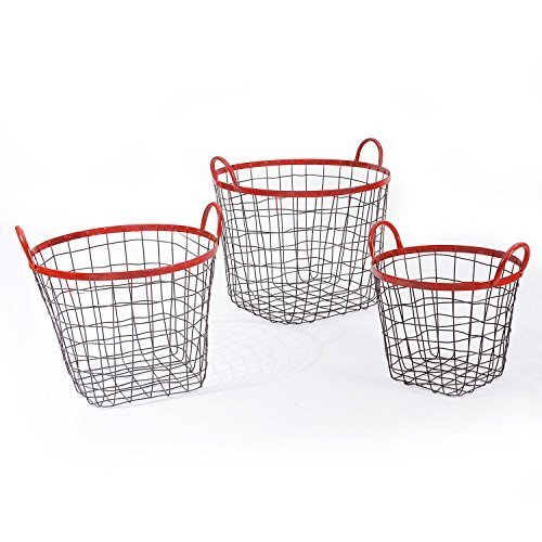 Multi-Purpose Oval Iron Wired Baskets with Handles and red Lining Home Decor, Set of 3