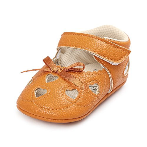 Baby Girl Moccasins Princess Sparkly Premium Lightweight Soft Sole Prewalker Toddler Shoes (L:12-18 Months, A-Brown&Yellow)
