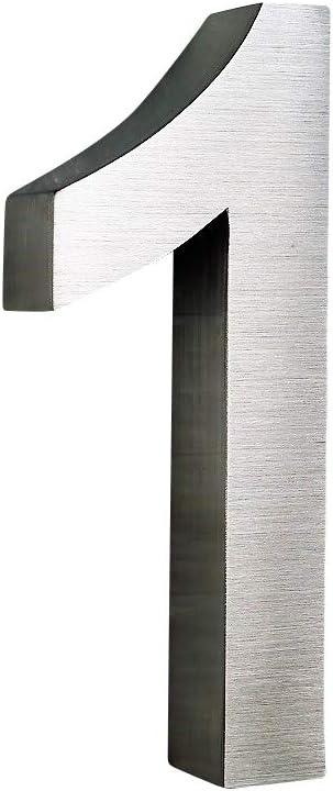 0,1,2,3,4,5,6,7,8,9 A,B,C,D Montagematerial erh/ältlich 3D Hausnummer 7 Edelstahl Arial rostfrei witterungsbest/ändig 3D Effekt in 20cm H/öhe und 3cm Tiefe aus geb/ürstetem Edelstahl V2A inkl