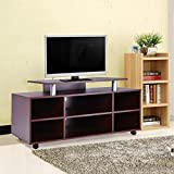 Wood Brown TV Stand Wheeling Home Entertainment Furniture With Ebook