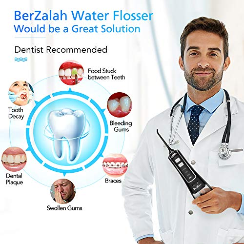Water Flosser Cordless Oral Irrigator Portable Rechargeable Dental Flossers with 3 Modes & 4 Tips for Travel, Office and Home, High-frequency Pulsation for Braces & Bridges Care, IPX7 Waterproof