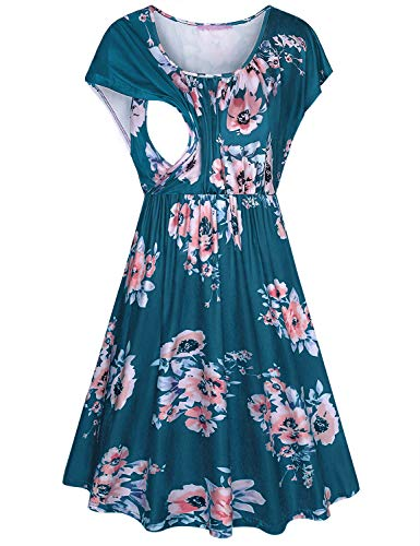 JOYMOM Short Sleeve Breastfeeding Dress,Maternity Classic Short Sleeve Scoop Neck Flower Pattern Nursing Midi Dresses Gravida Smooth Stretchy Breathable Knit Outwear Pregnant Travel Clothes Blue L