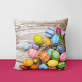 51KDguFdTUL. SS320 Colorful Wood Easter Eggs Square Design Printed Cushion Cover