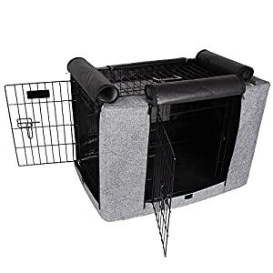 Petsfit Durable Double Door Polyester Dog Crate Cover with Mesh Window 47