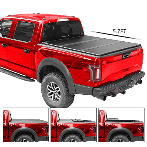 4XBEAM Hard Tri-Fold Truck Bed Tonneau Cover | Fits Dodge Ram 1500 2500 3500 2009-2018 (5 ft 7 in bed) | 5 Years Warranty (Not fit RamBox)
