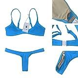 90b2890fed2ef Women Bikini Sets Brazilian Padded Top Thong Cheeky Bikini Bottom 2PCs 2018  Swimsuit for Women Blue 2XL