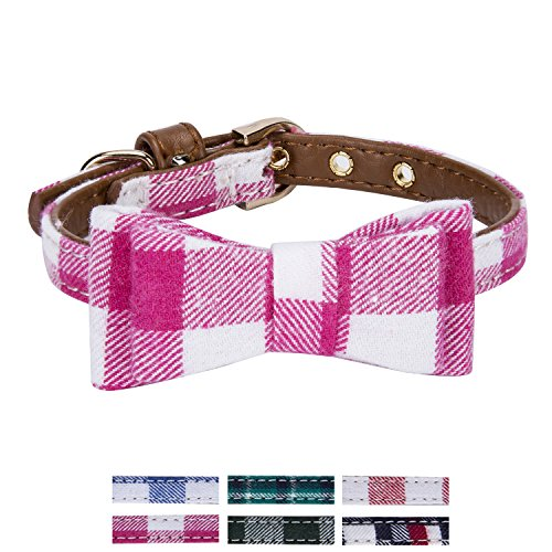 StrawberryEC Extra Small Dog and Cat Collar with Cute Plaid Bowtie. Adjustable 5 Holes to Also Fit Puppy and Kitten. Quality PU Leather and Durable Polyester (Bowtie-Rose Red Plaid) ()