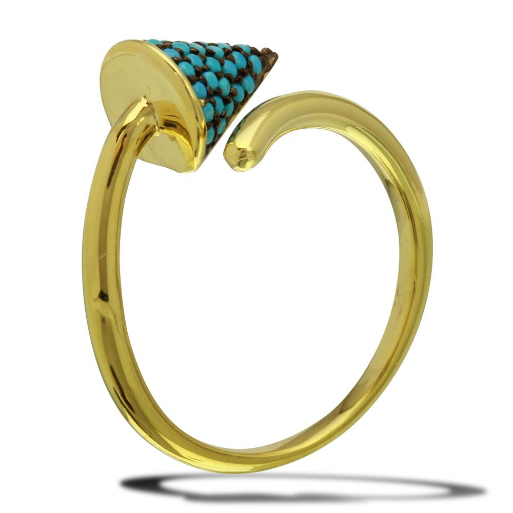Princess Kylie Synthetic Turquoise Open End Designer Ring Gold-Tone Plated Sterling Silver