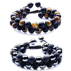 Best Epic Trends 51KDhnnpuDL._SS300_ WRCXSTONE Natural Stone Bracelet Mens Black Lava Rock Bracelet Tiger Eye Gemstone Bracelet Yoga Essential Oil Bracelet…