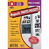 "Clear Magnetic Photo Frames For Refrigerator 4"" x 6"" (Pack of 5), Freez-A-Frame"