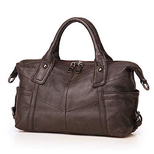 (Women Boston Bag Genuine Leather Handbag Top Handle Shoulder Bag Design Satchel Crossbody Lady Casual Purse Large Capacity Handbag)