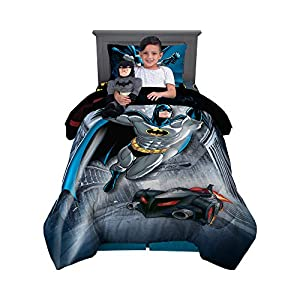 Franco Kids Bedding Comforter with Sheets and Cuddle Pillow Bedroom Set, 5 Piece Twin Size, Batman