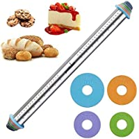 PROKITCHEN 23.6 Inch Rolling Pin with Thickness Rings-Adjustable Stainless Steel Roller Guides Spacers Baking Tools for…