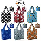 Grocery Bags Reusable Foldable 6 Pack Shopping Bags Large 50LBS Cute...