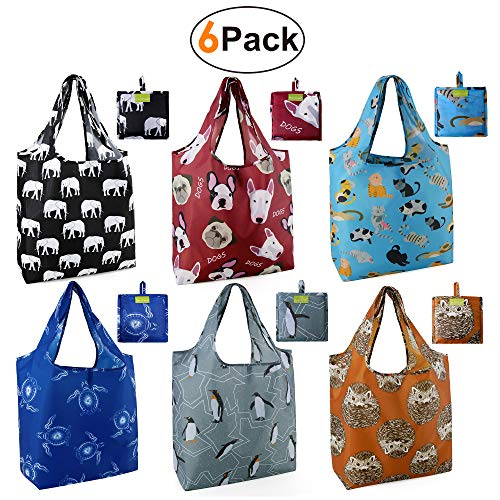 (Grocery Bags Reusable Foldable 6 Pack Shopping Bags Large 50LBS Cute Groceries Bags with Pouch Bulk Ripstop Waterproof Machine Washable Eco-Friendly Nylon Elephant Hedgehog Cat Turtle Dog)
