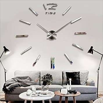 LOOYUAN DIY Large Wall Clock 3d Mirror Sticker Metal Big Watches Home Decor Unique Gift
