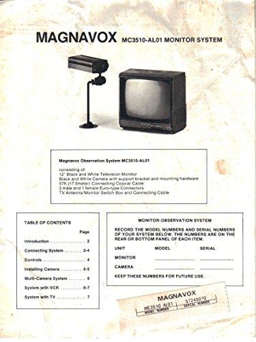 Magnavox MC3510-AL01 Black/White Television Monitor System, Owner's Manual