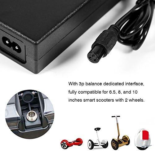 DERCLIVE Chargeur Adaptateur Secteur 42V 2A pour Cordon de Scooter Hoverboard à Équilibrage Automatique à 2 Roues UE