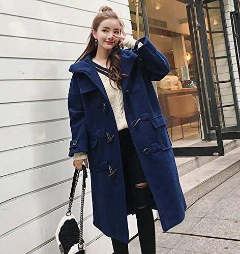 Coat British Buckle Horns Length Woolen Long Thin Sleeves Was Coat Loose Navy Large Thick Xuanku College Wind Long It Female SwBqFF