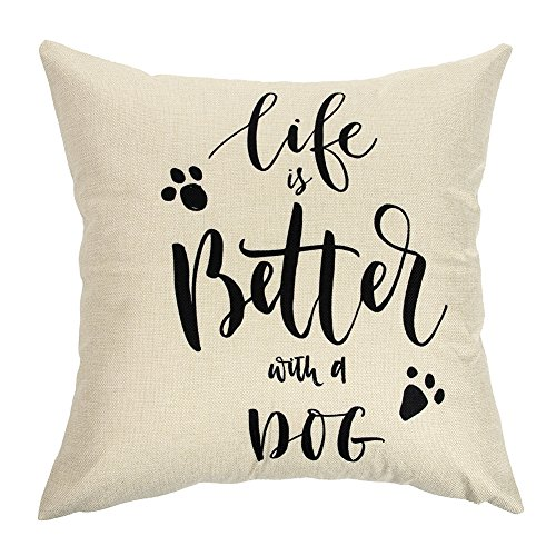 Home Decor Throw - Ogiselestyle Unique Cushion Cover Life Is Better With A Dog Lover Quote Sofa Simple Home Decor Throw Pillow Case Pillow Shams 18