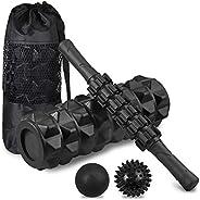 Foam Roller Set, VinTeam 6 in 1 Muscle Massage Roller Set with Foam Roller, Massage Roller Stick, Fascia Ball,